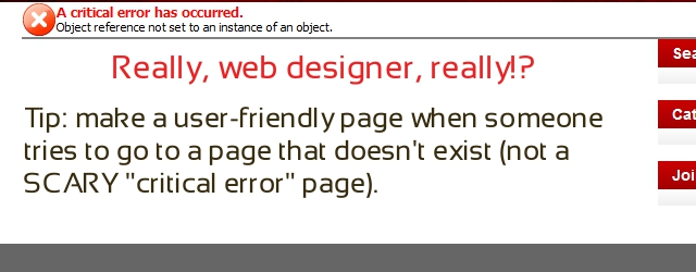 Critical error page - really, web designer, really!?