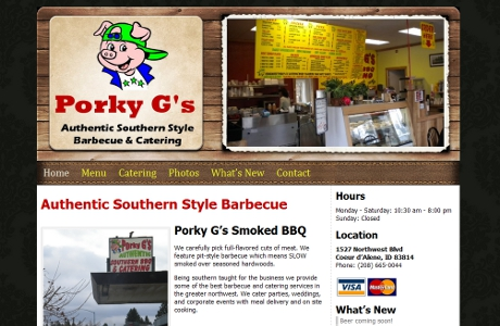 North Idaho Restaurant Website - Porky G's BBQ